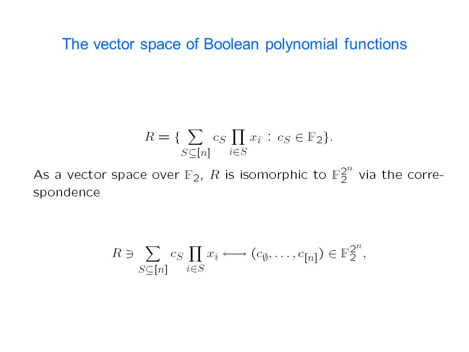 The vector space of Boolean polynomial functions