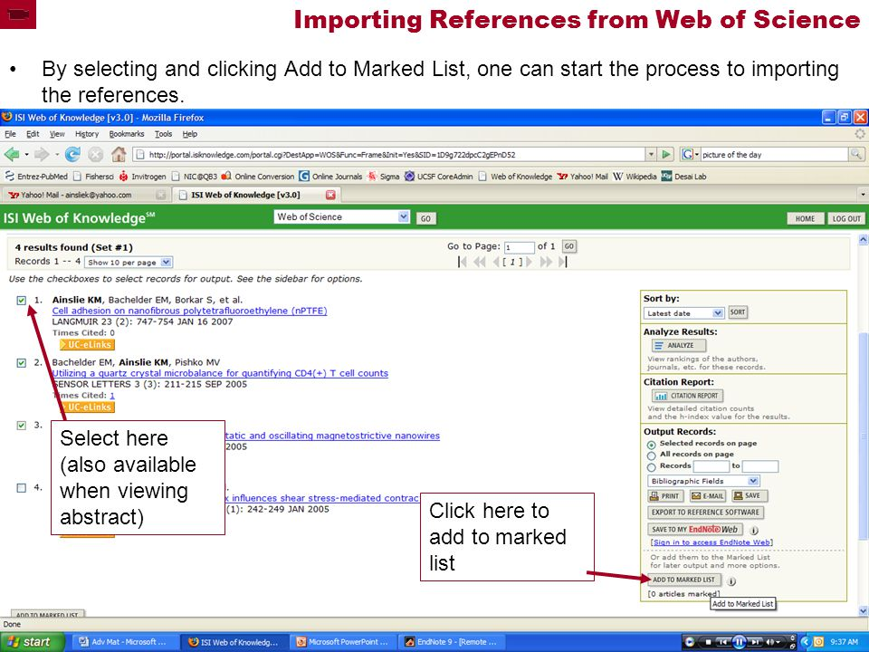 Importing References from Web of Science By selecting and clicking Add to Marked List, one can start the process to importing the references.