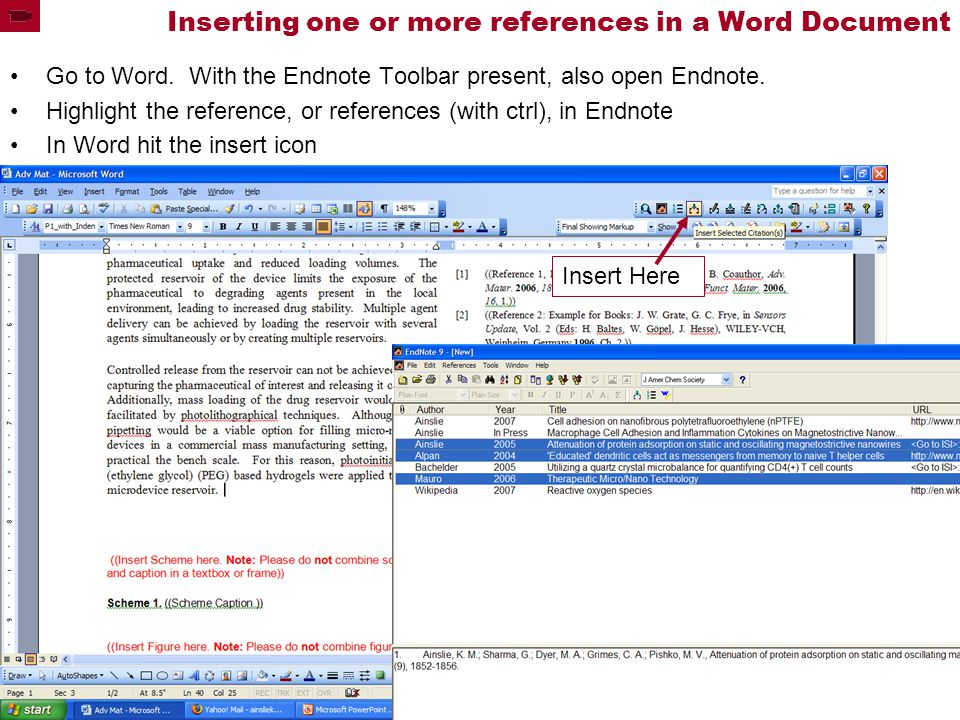 Inserting one or more references in a Word Document Go to Word.