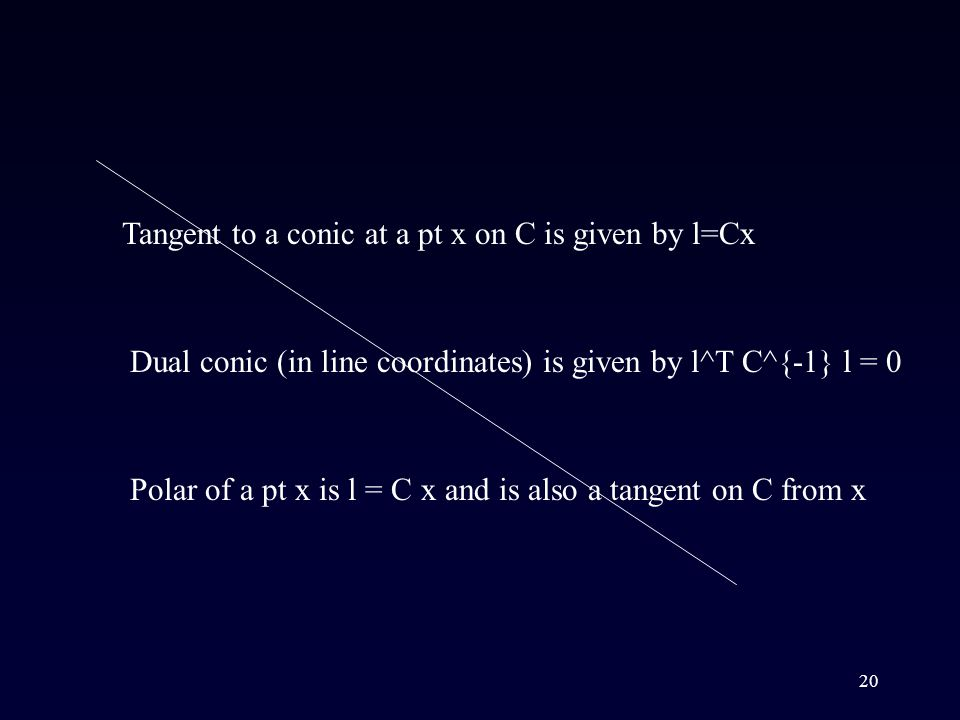 20 Tangent to a conic at a pt x on C is given by l=Cx Dual conic (in line coordinates) is given by l^T C^{-1} l = 0 Polar of a pt x is l = C x and is also a tangent on C from x