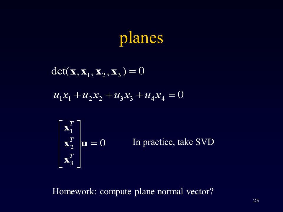 25 planes In practice, take SVD Homework: compute plane normal vector?