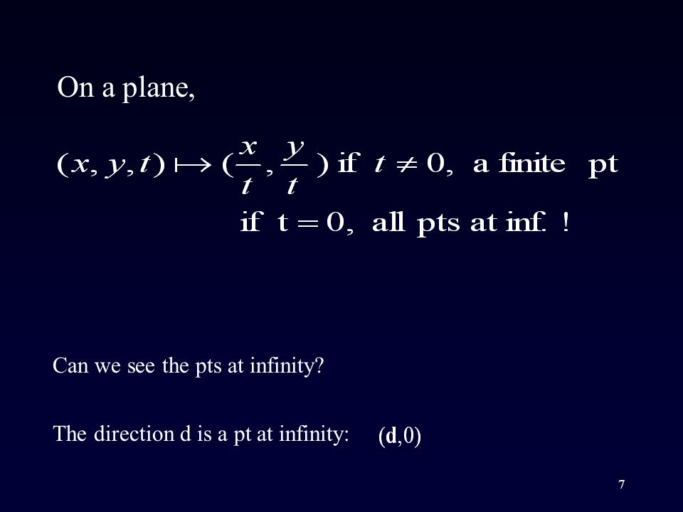 7 The direction d is a pt at infinity: On a plane, Can we see the pts at infinity?