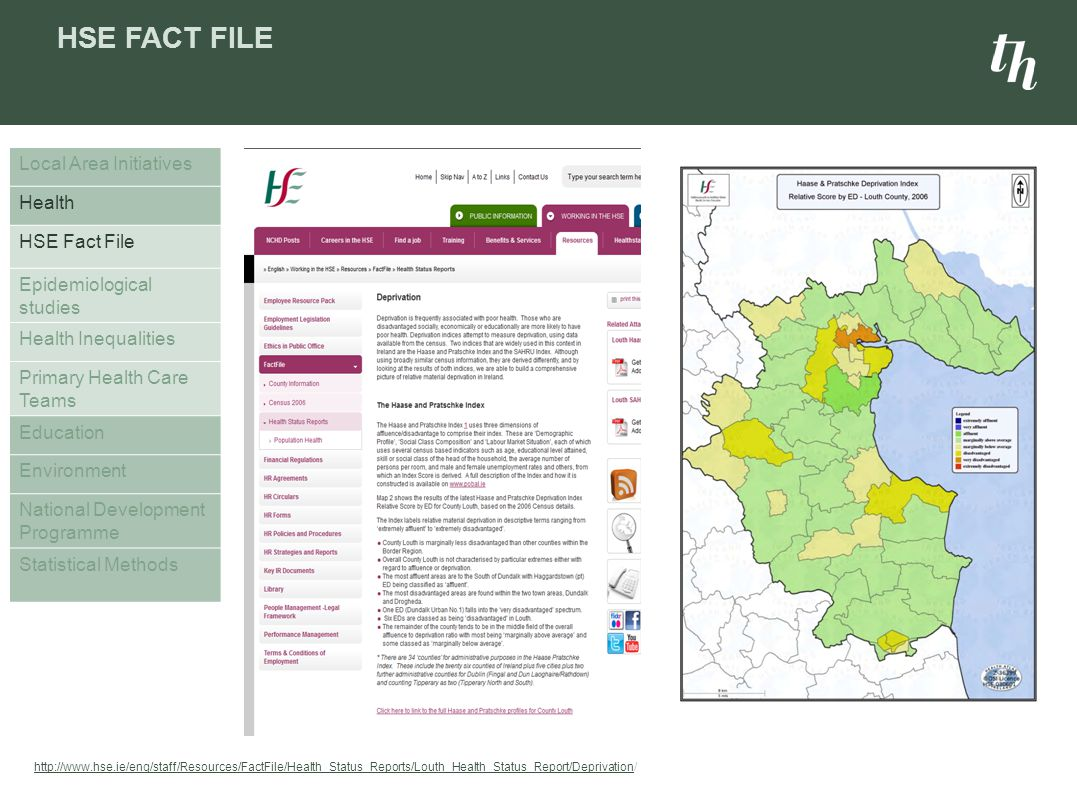 HSE FACT FILE Local Area Initiatives Health HSE Fact File Epidemiological studies Health Inequalities Primary Health Care Teams Education Environment