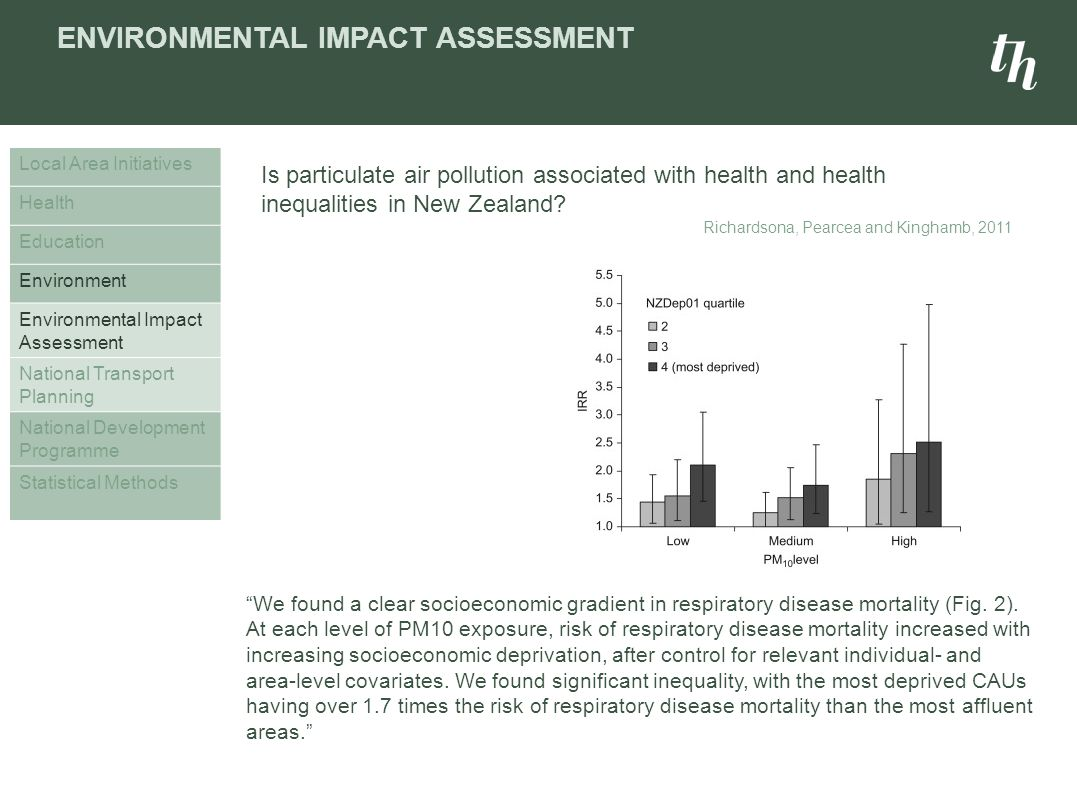 ENVIRONMENTAL IMPACT ASSESSMENT Local Area Initiatives Health Education Environment Environmental Impact Assessment National Transport Planning National Development Programme Statistical Methods We found a clear socioeconomic gradient in respiratory disease mortality (Fig.
