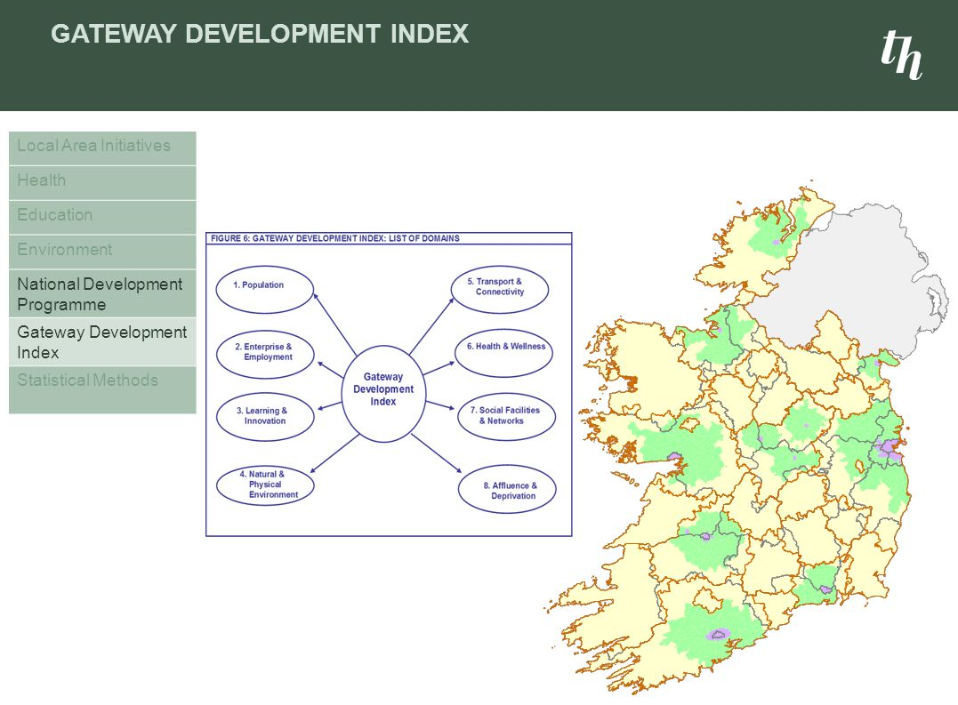 GATEWAY DEVELOPMENT INDEX Local Area Initiatives Health Education Environment National Development Programme Gateway Development Index Statistical Methods