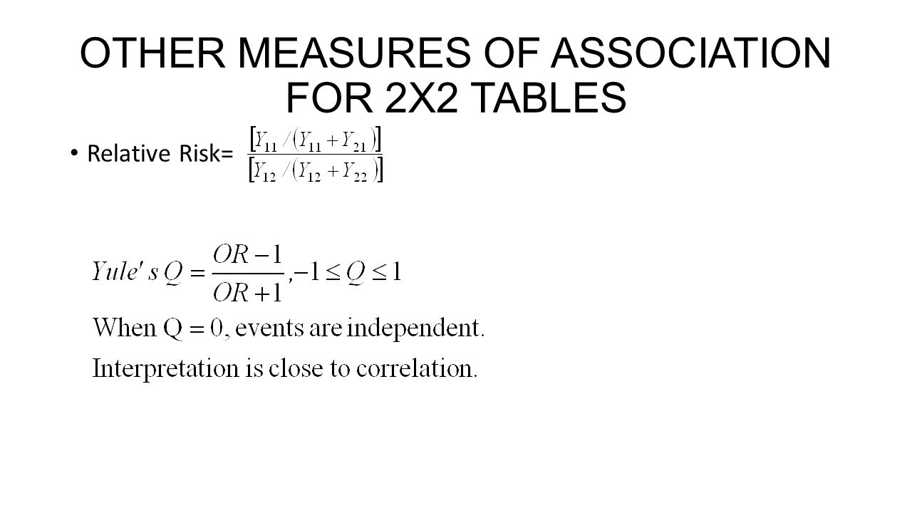 OTHER MEASURES OF ASSOCIATION FOR 2X2 TABLES Relative Risk=
