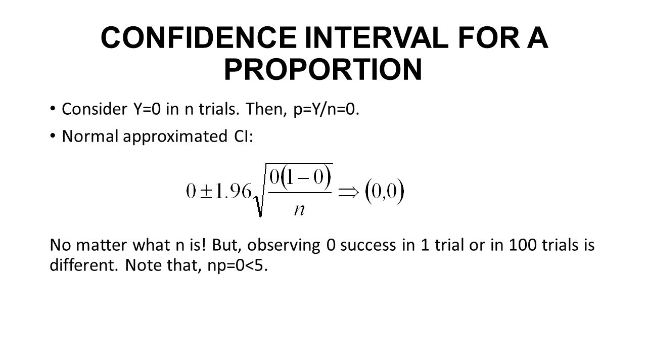 CONFIDENCE INTERVAL FOR A PROPORTION Consider Y=0 in n trials.
