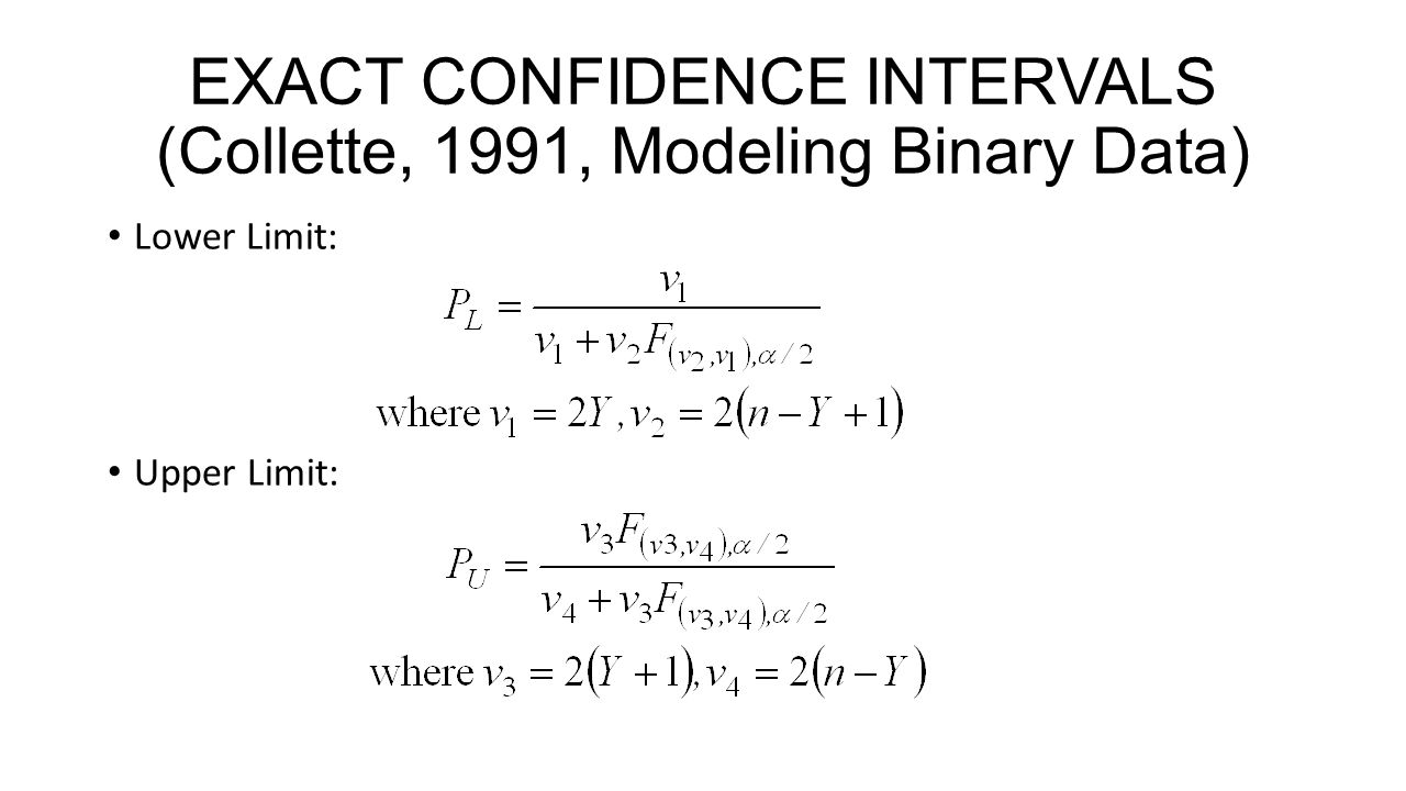 EXACT CONFIDENCE INTERVALS (Collette, 1991, Modeling Binary Data) Lower Limit: Upper Limit: