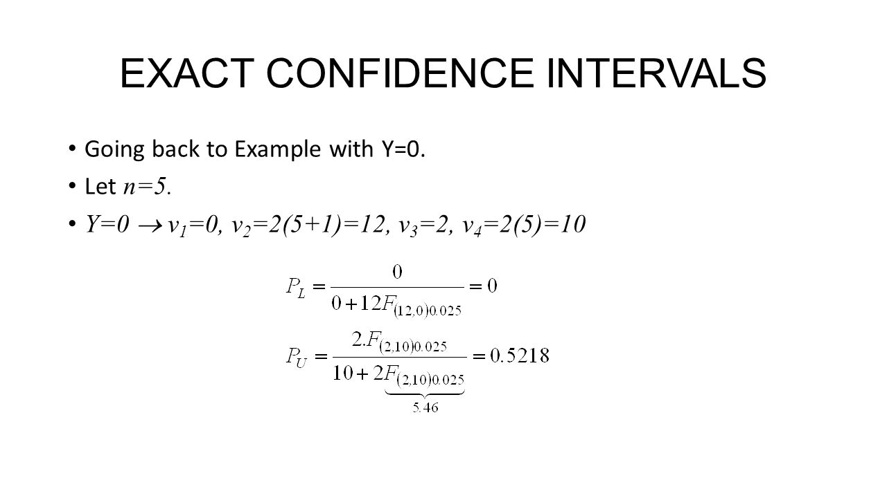EXACT CONFIDENCE INTERVALS Going back to Example with Y=0.