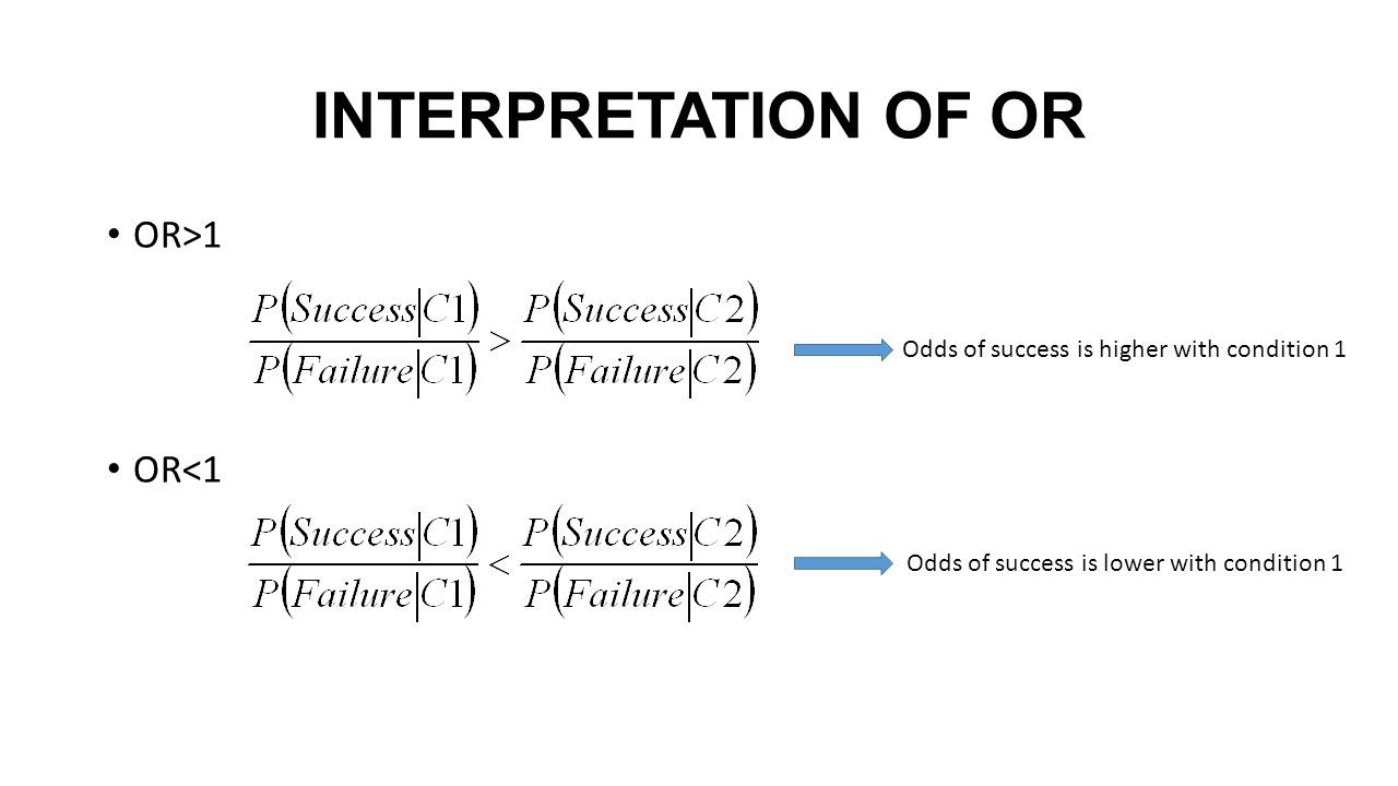 INTERPRETATION OF OR OR>1 OR<1 Odds of success is higher with condition 1 Odds of success is lower with condition 1