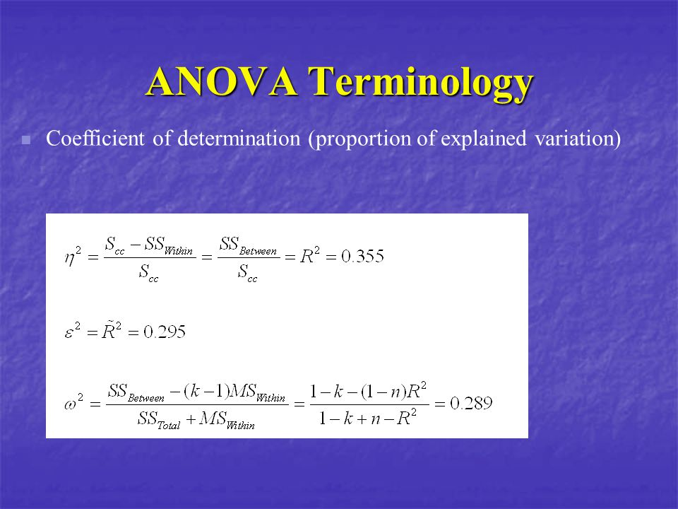 ANOVA Terminology Coefficient of determination (proportion of explained variation)