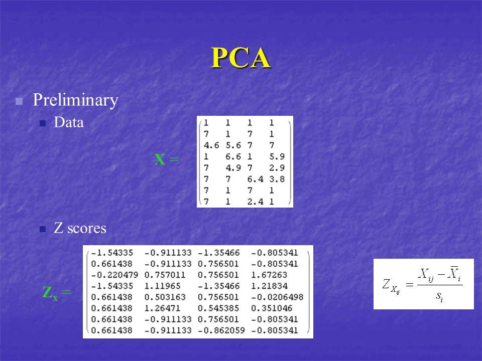 PCA X = Zx =Zx = Preliminary Data Z scores