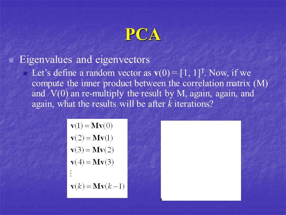 PCA Eigenvalues and eigenvectors Let's define a random vector as v(0) = [1, 1] T.