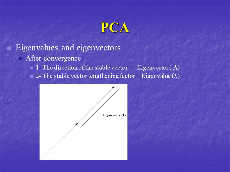 PCA Eigenvalues and eigenvectors After convergence 1- The direction of the stable vector = Eigenvector (  ) 2- The stable vector lengthening factor = Eigenvalue ( )