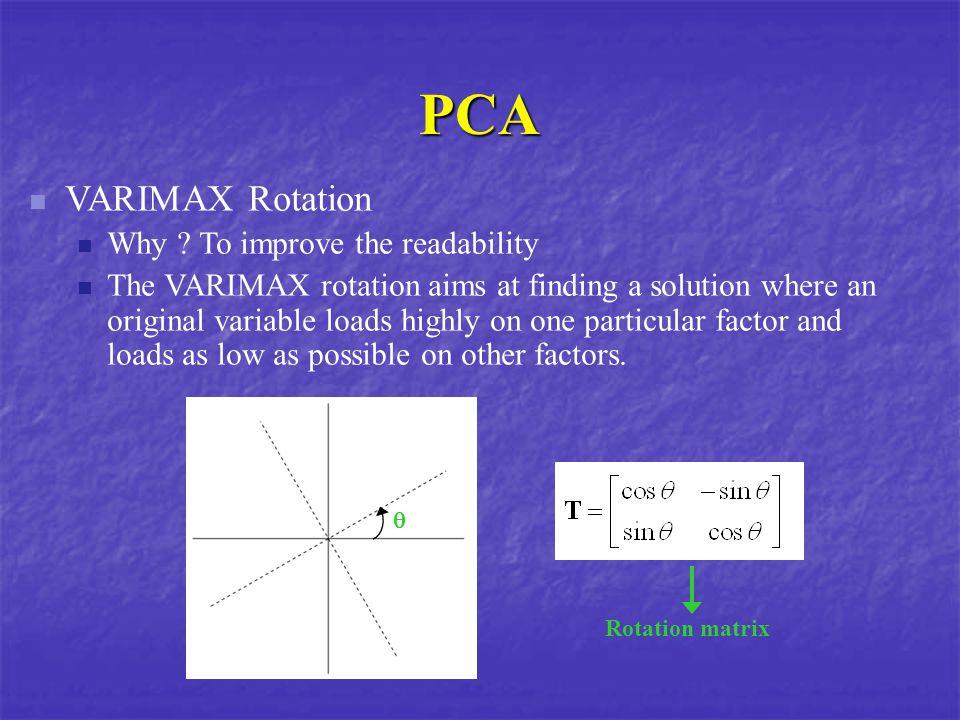 PCA VARIMAX Rotation Why .