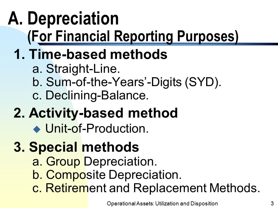 2 Objectives of the Chapter A.To learn depreciation methods for financial reporting purposes. B.To study income tax depreciation including Accelerated