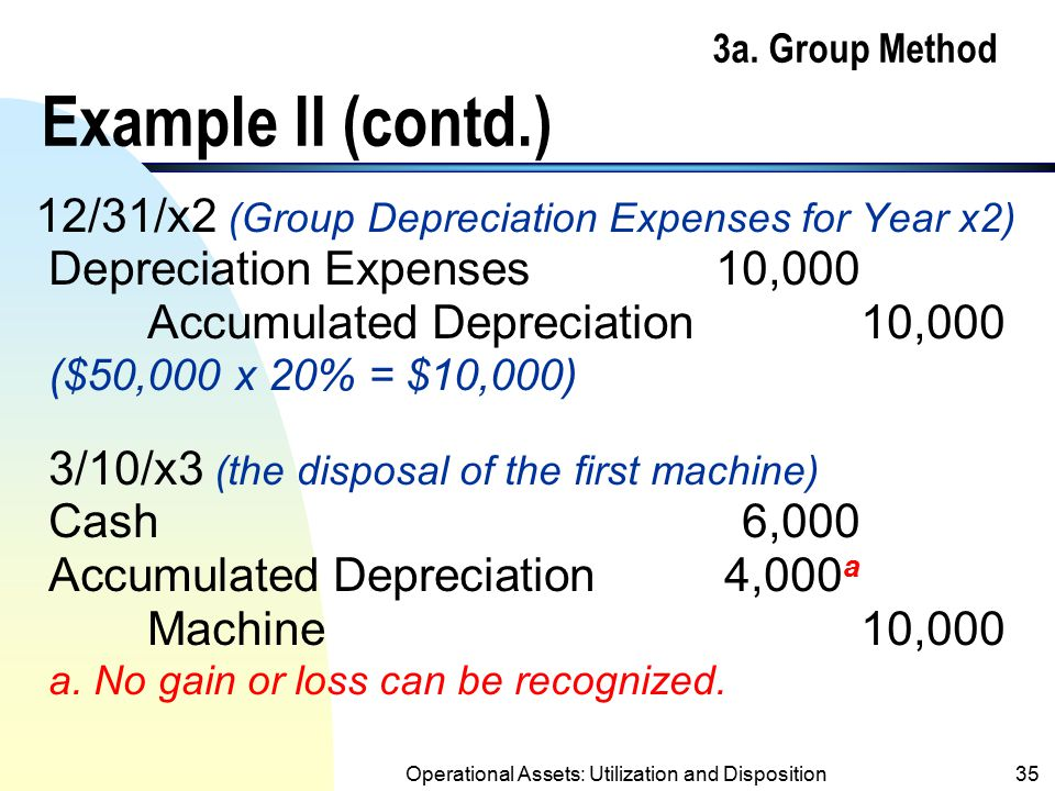 Operational Assets: Utilization and Disposition34 3a. Group Method Example II n Use information on page 29 and assume one machine was sold for $6,000