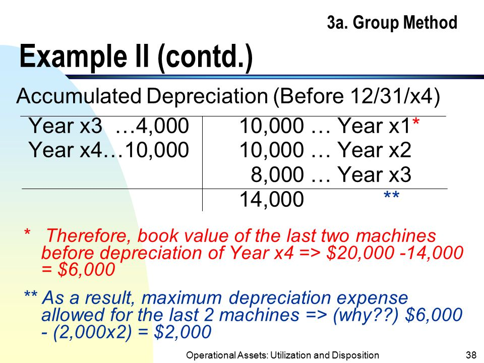 Operational Assets: Utilization and Disposition37 3a. Group Method Example II (contd.) 8/9/x4 (Sold 2 machines for $5,000 each) Cash10,000 Accumulated