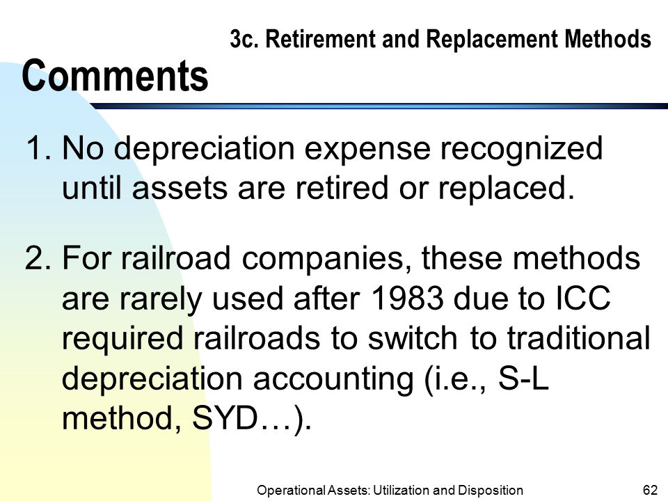 Operational Assets: Utilization and Disposition61 3c. Retirement and Replacement Methods Example (cont.) Journal entries (replacement method cont.) 20