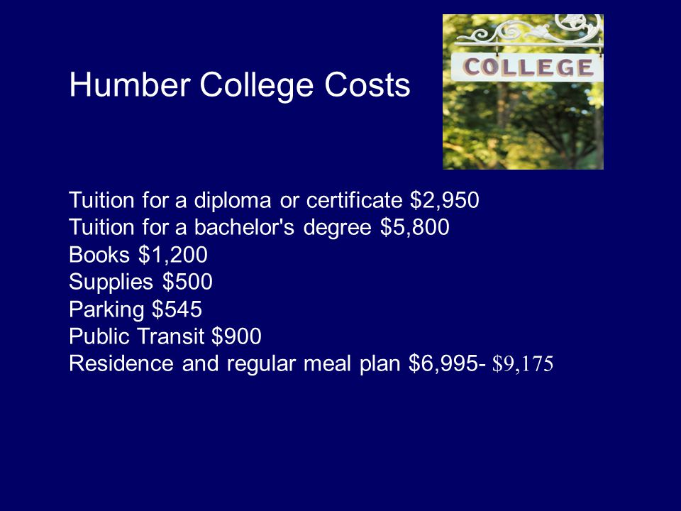 Humber College Costs Tuition for a diploma or certificate $2,950 Tuition for a bachelor s degree $5,800 Books $1,200 Supplies $500 Parking $545 Public Transit $900 Residence and regular meal plan $6,995- $9,175