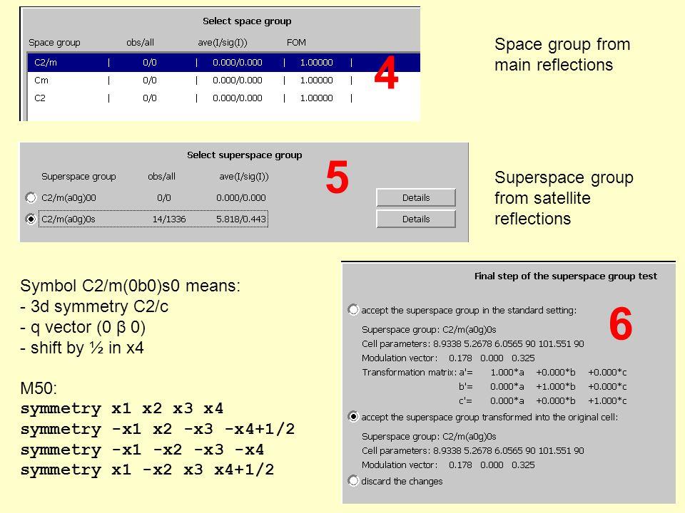 Symbol C2/m(0b0)s0 means: - 3d symmetry C2/c - q vector (0 β 0) - shift by ½ in x4 M50: symmetry x1 x2 x3 x4 symmetry -x1 x2 -x3 -x4+1/2 symmetry -x1