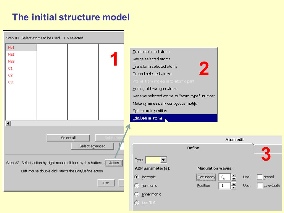 1 2 3 The initial structure model
