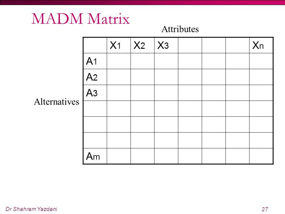 Dr Shahram Yazdani 27 MADM Matrix X1X1 X2X2 X3X3 XnXn A1A1 A2A2 A3A3 AmAm Alternatives Attributes