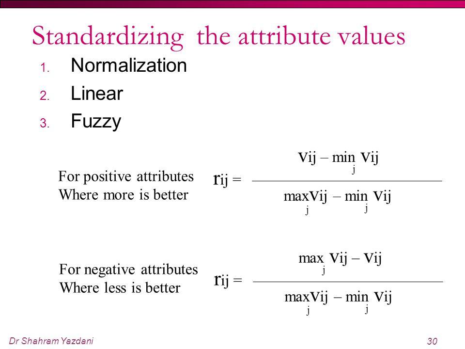 Dr Shahram Yazdani 30 Standardizing the attribute values 1. Normalization 2. Linear 3. Fuzzy j r ij = v ij – min v ij max v ij – min v ij j j j r ij =