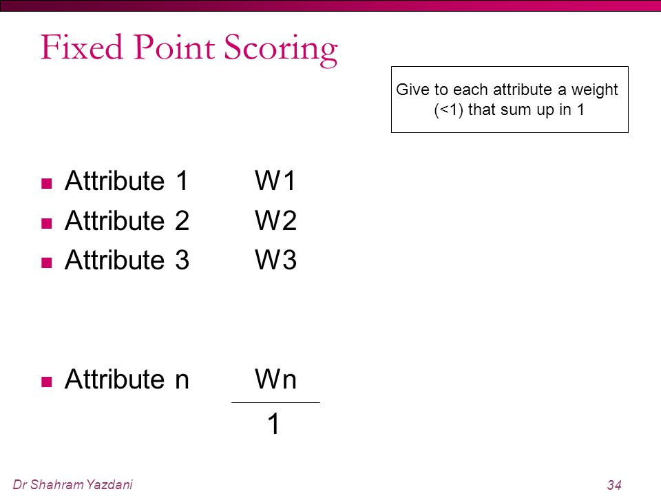 Dr Shahram Yazdani 34 Fixed Point Scoring Attribute 1 Attribute 2 Attribute 3 Attribute n Give to each attribute a weight (<1) that sum up in 1 W1 W2