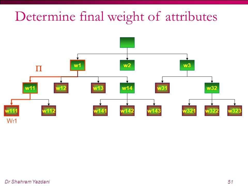 Dr Shahram Yazdani 51 w1 w2w3 w11 w12w13w14w31w32 w321w322w323w141w142w143 w111 w112 Wf1Wf1  Determine final weight of attributes
