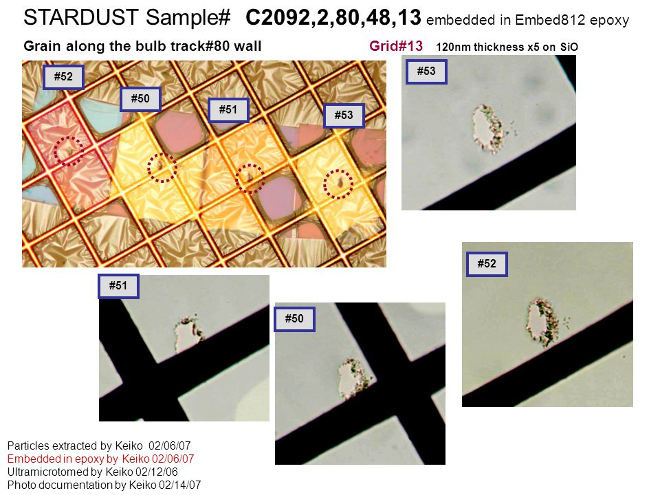 STARDUST Sample# C2126,2,68,2,1 embedded in cyanoacrylete STARDUST Sample# C2092,2,80,48,13 embedded in Embed812 epoxy Grain along the bulb track#80 wall Grid#13 120nm thickness x5 on SiO Particles extracted by Keiko 02/06/07 Embedded in epoxy by Keiko 02/06/07 Ultramicrotomed by Keiko 02/12/06 Photo documentation by Keiko 02/14/07 #52 #50 #51 #53 #50 #53 #52 #51