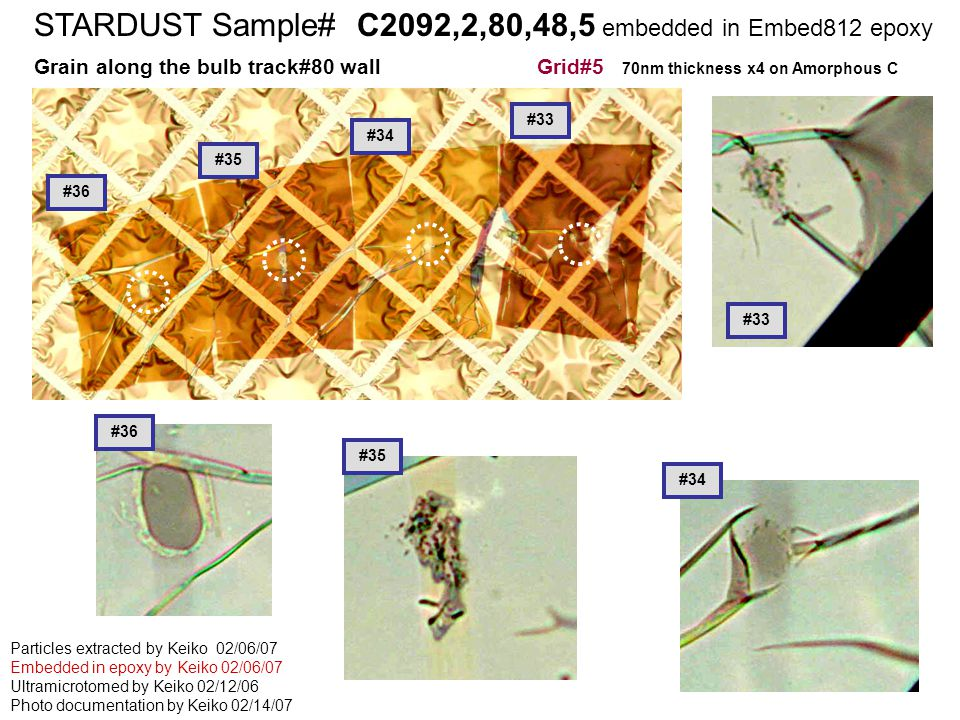STARDUST Sample# C2126,2,68,2,1 embedded in cyanoacrylete STARDUST Sample# C2092,2,80,48,5 embedded in Embed812 epoxy Grain along the bulb track#80 wall Grid#5 70nm thickness x4 on Amorphous C Particles extracted by Keiko 02/06/07 Embedded in epoxy by Keiko 02/06/07 Ultramicrotomed by Keiko 02/12/06 Photo documentation by Keiko 02/14/07 #34 #36 #35 #33 #36 #35 #34 #33