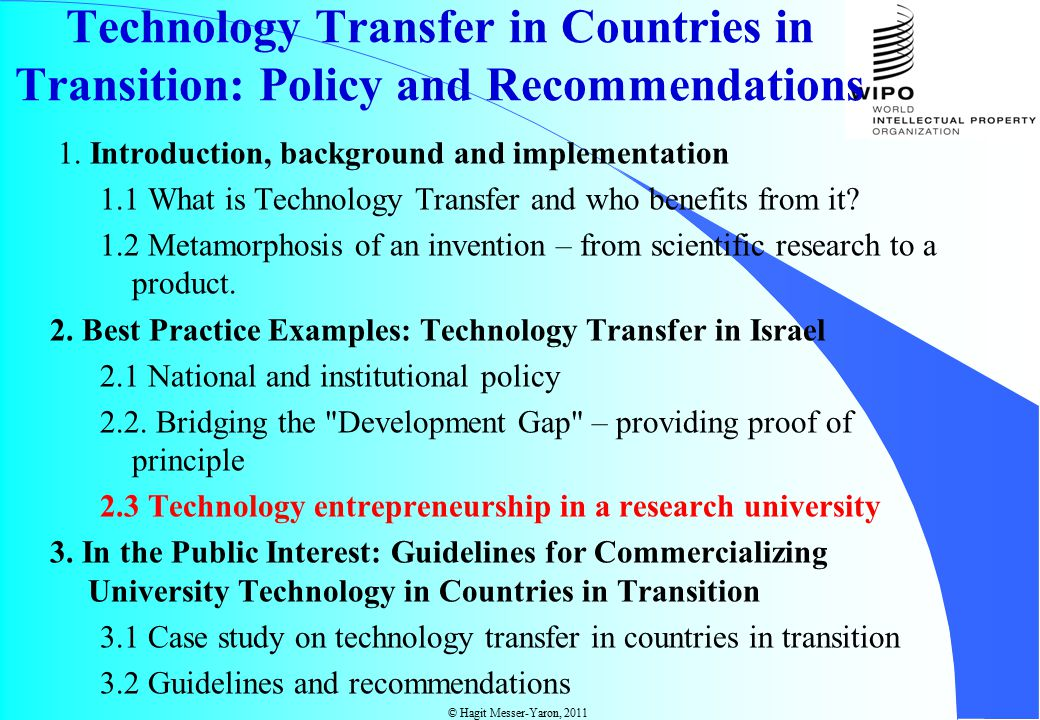 © Hagit Messer-Yaron, 2011 Technology Transfer in Countries in Transition: Policy and Recommendations 1.