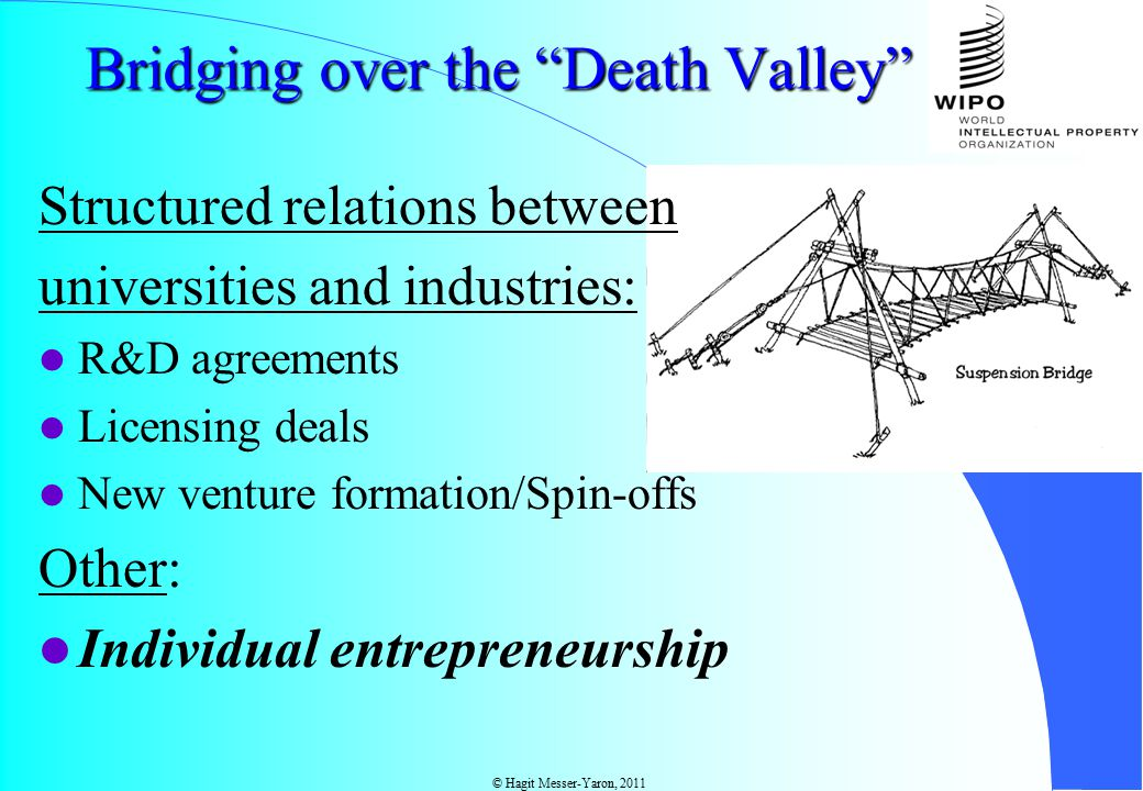 © Hagit Messer-Yaron, 2011 Bridging over the Death Valley Structured relations between universities and industries: R&D agreements Licensing deals New venture formation/Spin-offs Other: Individual entrepreneurship