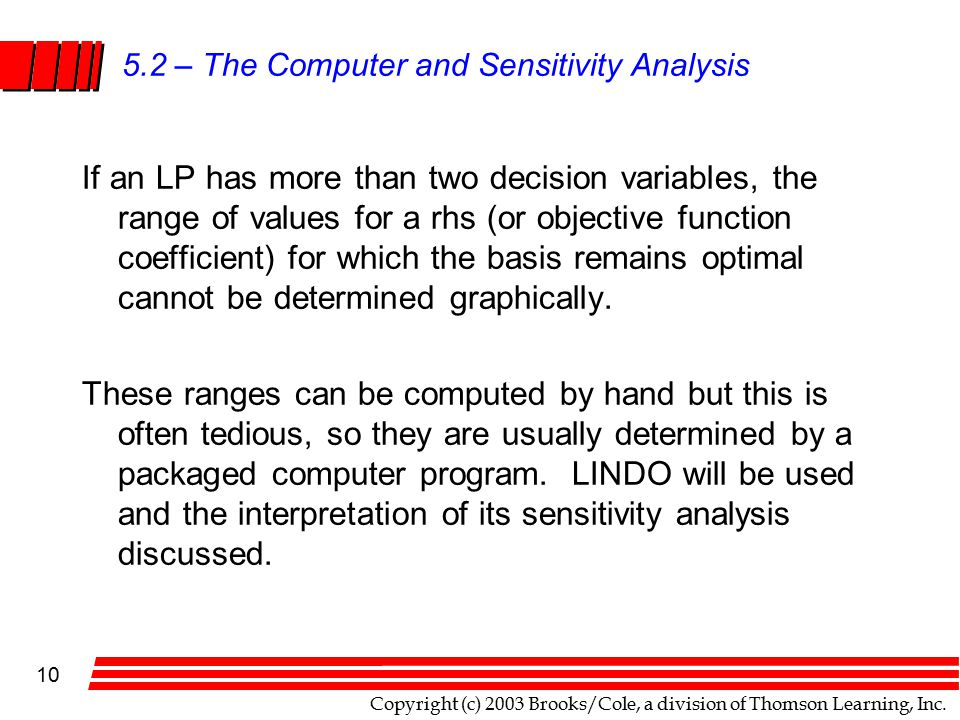 Copyright (c) 2003 Brooks/Cole, a division of Thomson Learning, Inc. 10 5.2 – The Computer and Sensitivity Analysis If an LP has more than two decisio