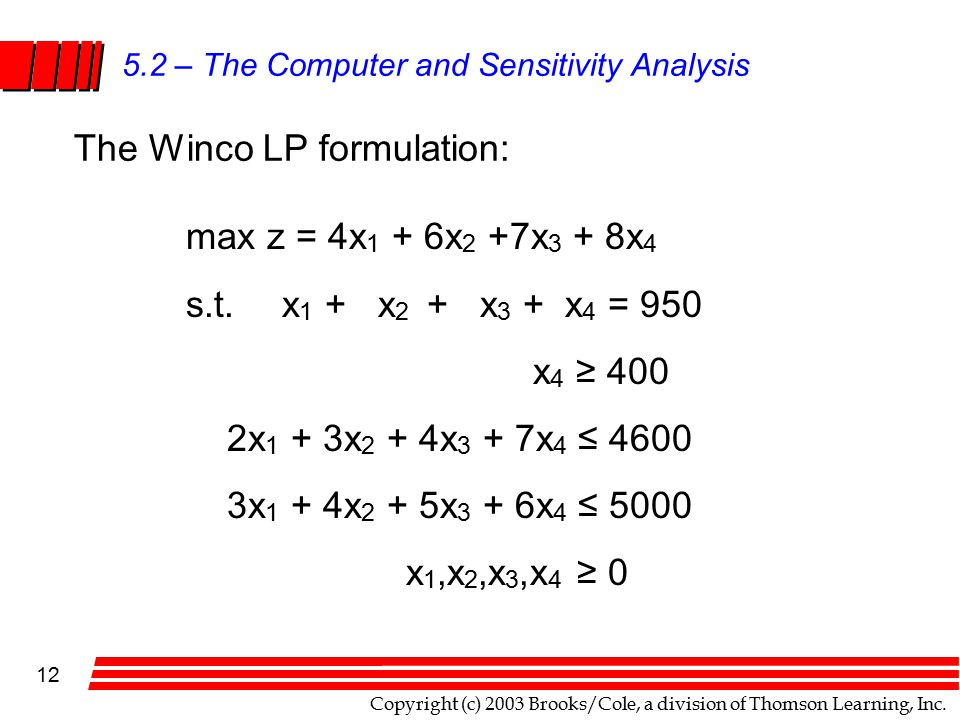 Copyright (c) 2003 Brooks/Cole, a division of Thomson Learning, Inc. 12 5.2 – The Computer and Sensitivity Analysis The Winco LP formulation: max z =