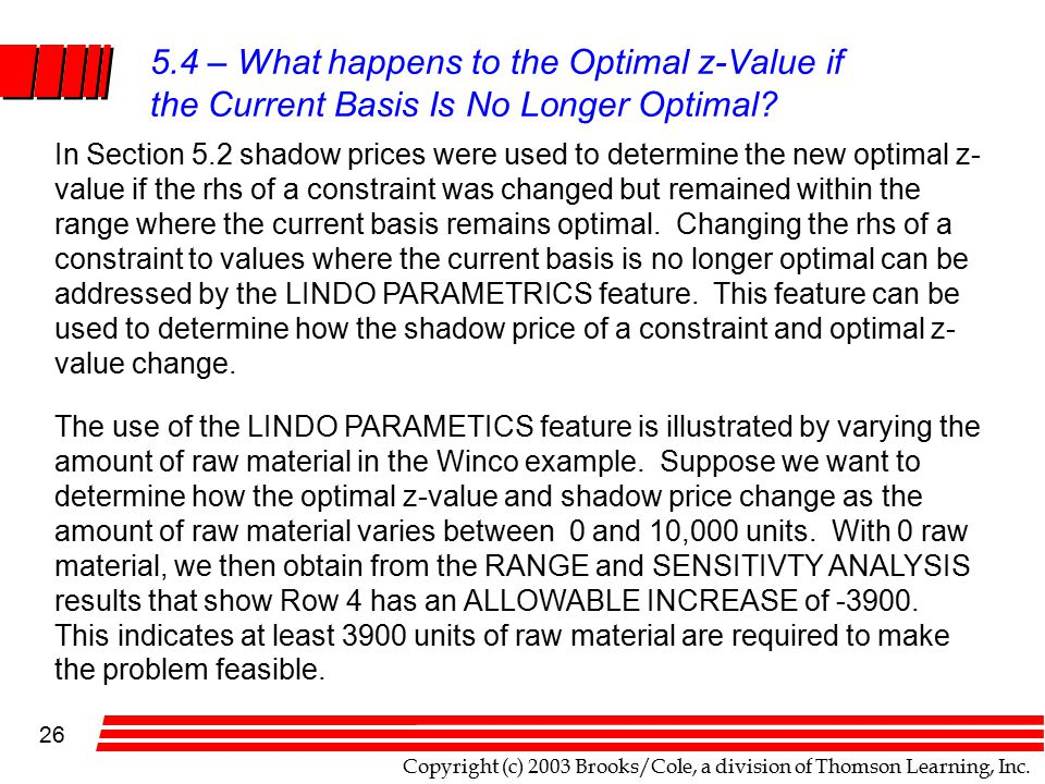 Copyright (c) 2003 Brooks/Cole, a division of Thomson Learning, Inc. 26 5.4 – What happens to the Optimal z-Value if the Current Basis Is No Longer Op