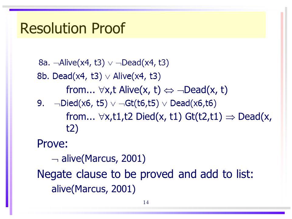 14 Resolution Proof 8a.  Alive(x4, t3)   Dead(x4, t3) 8b.