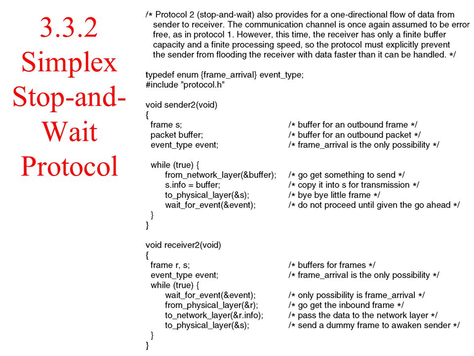 3.3.2 Simplex Stop-and- Wait Protocol