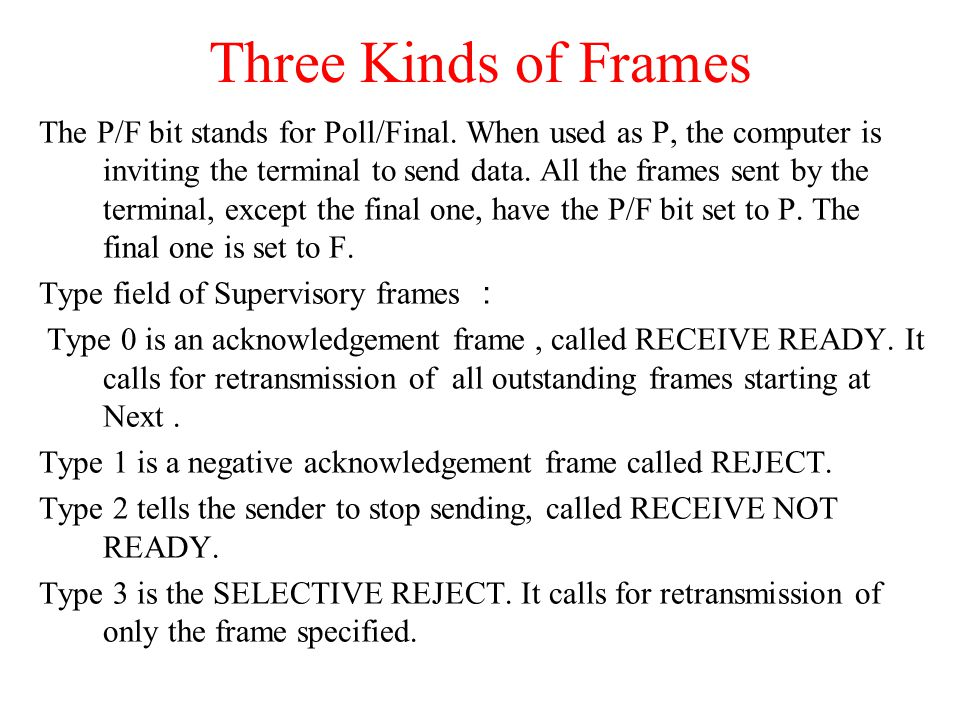 Three Kinds of Frames The P/F bit stands for Poll/Final. When used as P, the computer is inviting the terminal to send data. All the frames sent by th