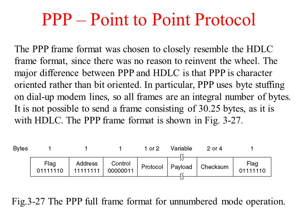 PPP – Point to Point Protocol Fig.3-27 The PPP full frame format for unnumbered mode operation. The PPP frame format was chosen to closely resemble th