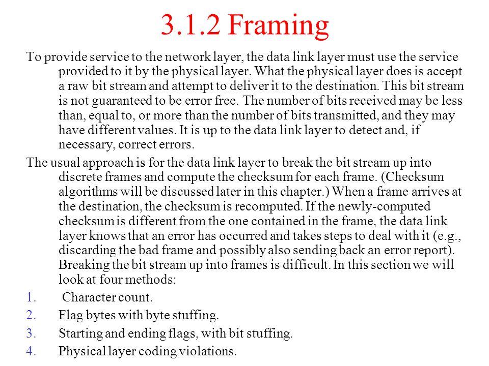 3.4 Sliding Window Protocols piggybacking sending window receiving window A One-Bit Sliding Window Protocol A Protocol Using Go Back N A Protocol Using Selective Repeat