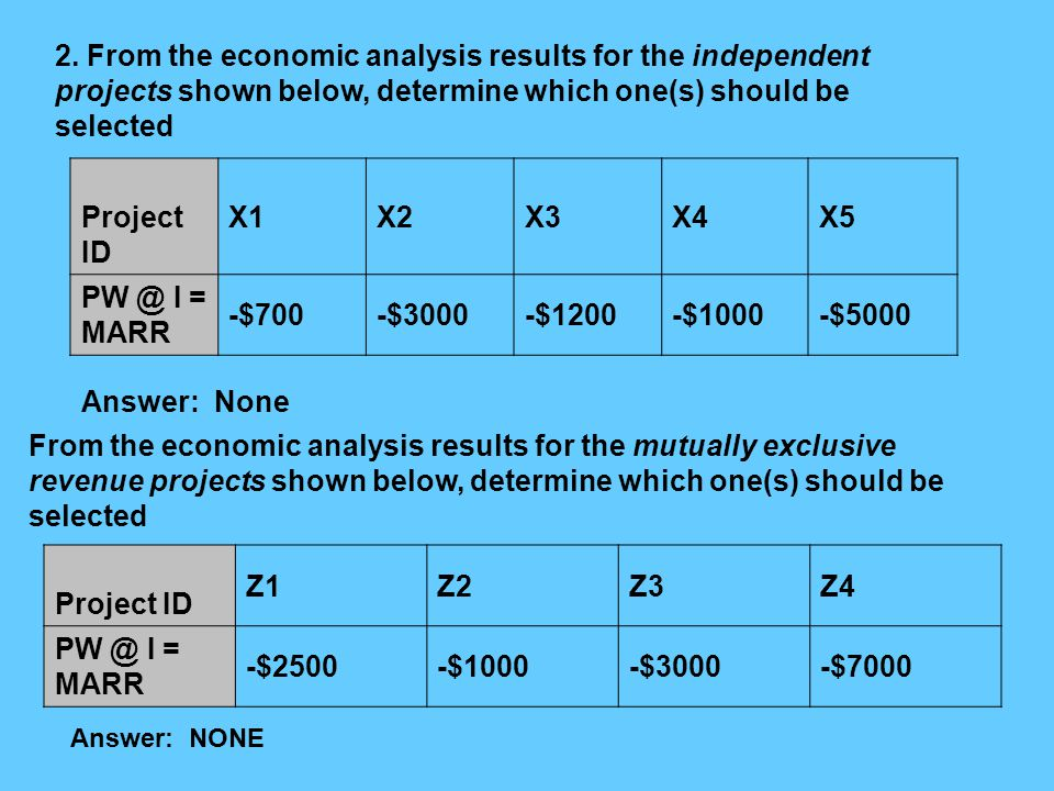 2. From the economic analysis results for the independent projects shown below, determine which one(s) should be selected Project ID X1X2X3X4X5 PW @ I