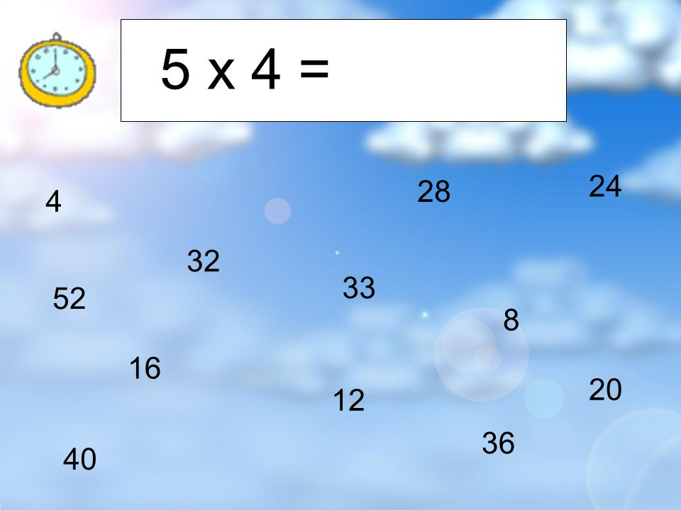 4 8 12 16 20 24 28 32 36 40 33 52 10 x 4 = 40
