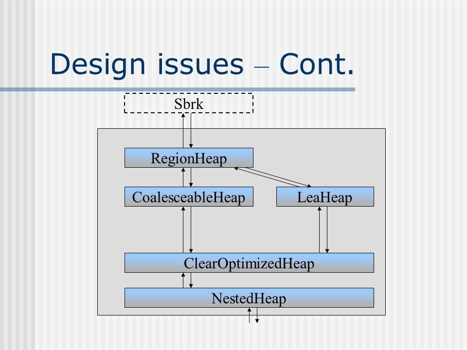 Design issues – Cont. RegionHeap CoalesceableHeap ClearOptimizedHeap NestedHeap LeaHeap Sbrk