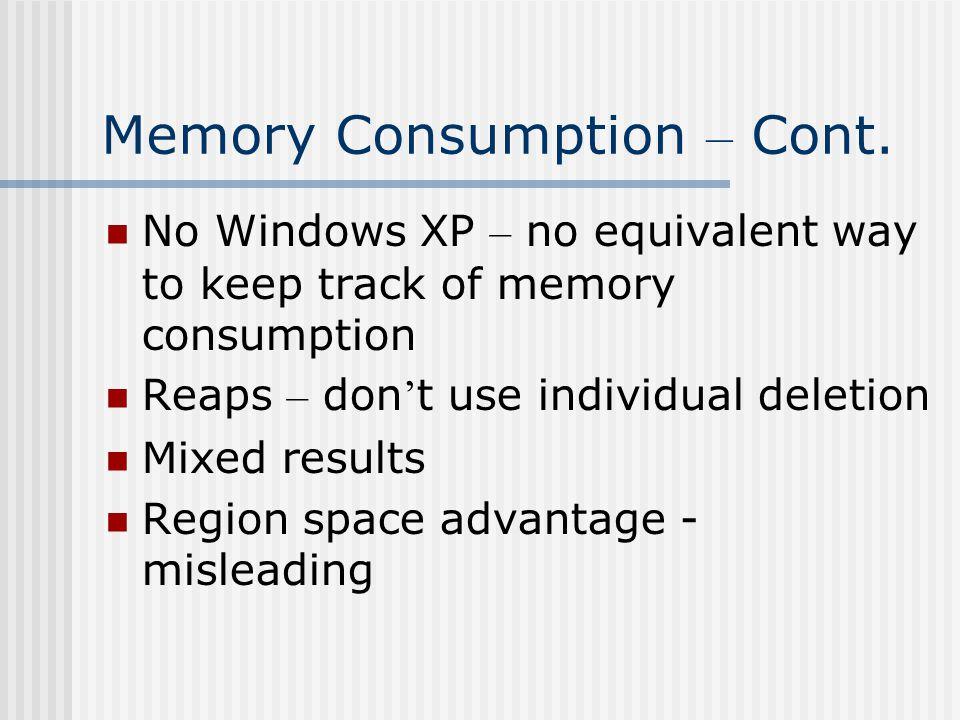 Memory Consumption – Cont.