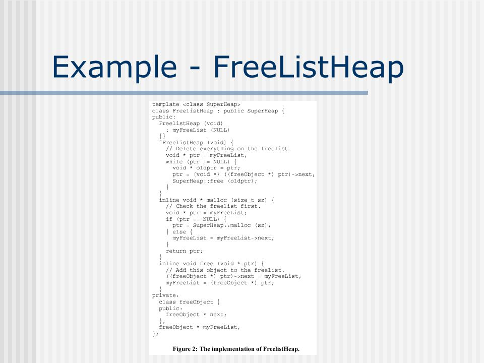 Example - FreeListHeap