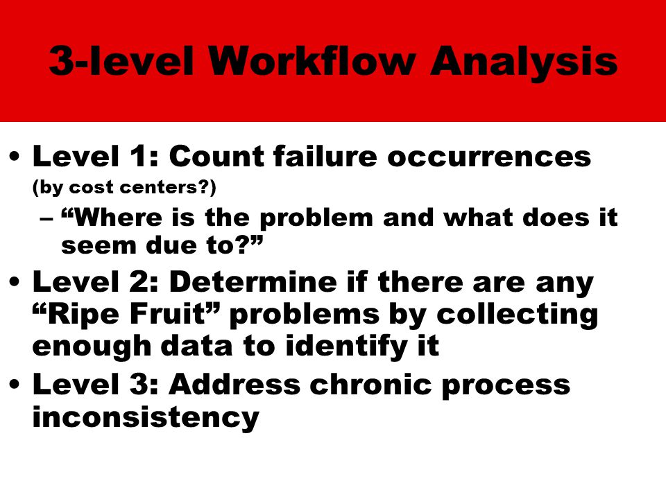 3-level Workflow Analysis Level 1: Count failure occurrences (by cost centers ) – Where is the problem and what does it seem due to Level 2: Determine if there are any Ripe Fruit problems by collecting enough data to identify it Level 3: Address chronic process inconsistency