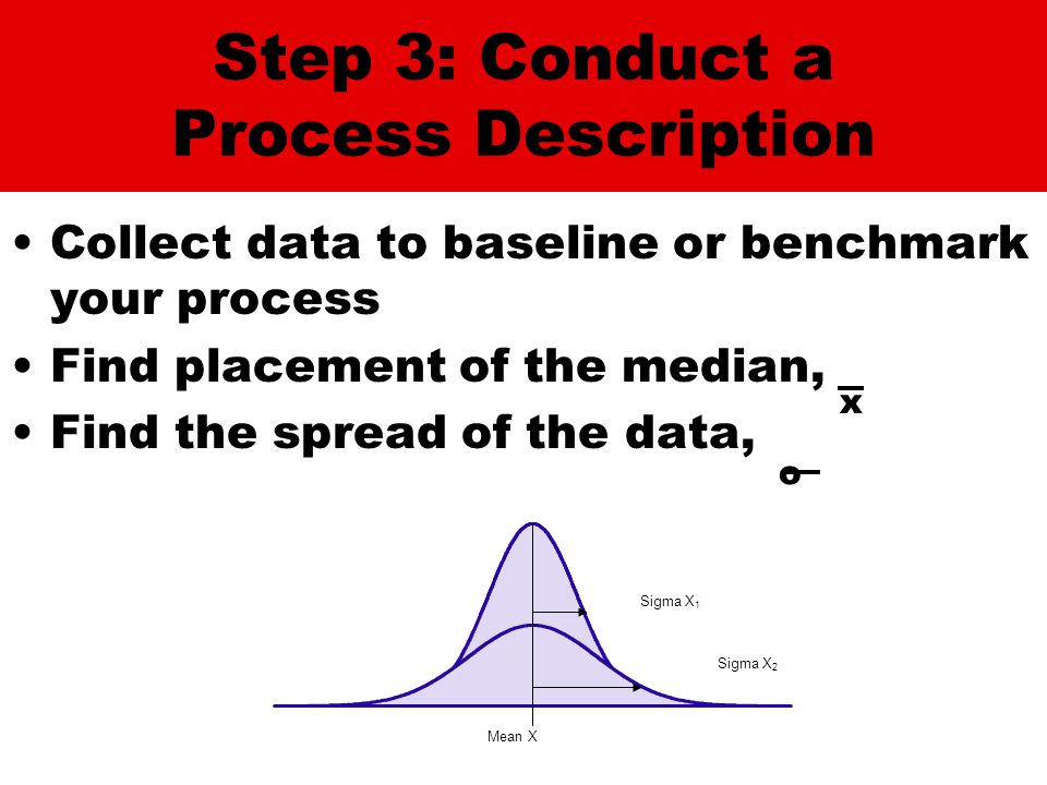 Step 3: Conduct a Process Description Collect data to baseline or benchmark your process Find placement of the median, Find the spread of the data, x