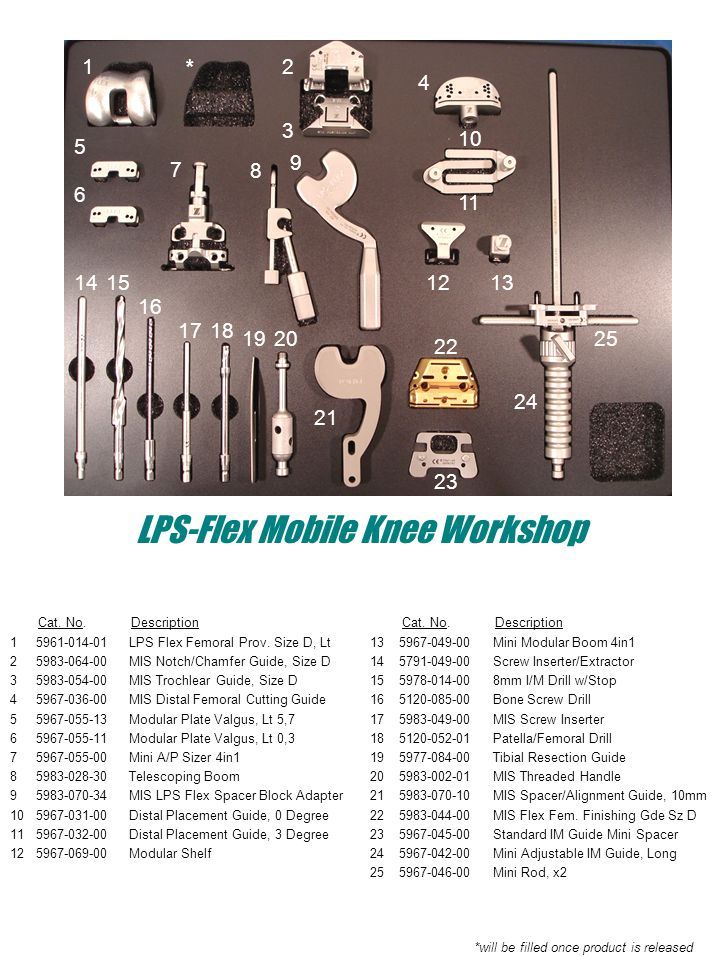 Cat. No. Description 1 5961-014-01 LPS Flex Femoral Prov. Size D, Lt 2 5983-064-00 MIS Notch/Chamfer Guide, Size D 3 5983-054-00 MIS Trochlear Guide,